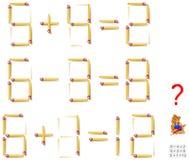 Logikpuzzlespiel In jedem Aufgabenbewegung eine Matchstick, zum der Gleichungen korrekt zu machen lizenzfreie abbildung