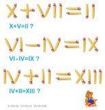 Logikpuzzlespiel In jedem Aufgabenbewegung 1 Matchstick, zum der Gleichungen korrekt zu machen stock abbildung