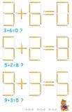 Logikpuzzlespiel In jedem Bleistift der Aufgabenbewegung 1, zum der Gleichungen korrekt zu machen lizenzfreie abbildung