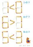 Logikpuzzlespiel In jeder Aufgabe addieren Sie 1 Matchstick, um die Ungleichheiten korrekt zu machen vektor abbildung