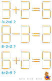 Logikpuzzlespiel In jeder Aufgabe zeichnet Bewegung 2 an, um die Gleichungen korrekt zu machen vektor abbildung