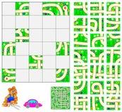 Logikpuzzlespiel mit Labyrinth Schneiden Sie die Quadrate und setzen Sie sie richtig Müssen Sie durch von Punkt A mit dem Auto üb vektor abbildung