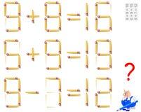 Logikrätselspiel In jedem Aufgabenbewegung 1 Matchstick, zum der Gleichungen korrekt zu machen stock abbildung