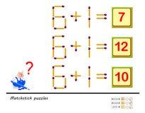 Logikrätselspiel In jeder Aufgabe müssen Sie 1 Matchstick bewegen, um die Gleichungen korrekt zu machen Bedruckbare Seite für Den lizenzfreie abbildung