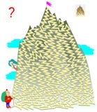Logikrätselspiel mit Labyrinth für Kinder und Erwachsene Helfen Sie dem Touristen, die Weise zur Spitze des Berges zu finden vektor abbildung