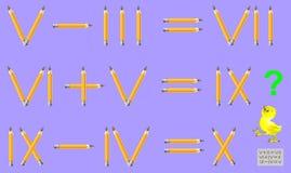 Logikrätselspiel mit römischen Zahlen In jedem Bleistift der Aufgabenbewegung 1, zum der Gleichungen korrekt zu machen lizenzfreie abbildung