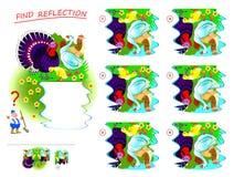 Logikr?tselspiel f?r Kinder Müssen Sie korrekte Reflexion von Bauernhofvögeln in einer Pfütze finden und sie zeichnen stock abbildung