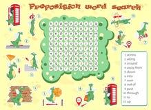 Logikspiel für das Lernen von Englisch Finden Sie die versteckten Wörter durch vertic stock abbildung
