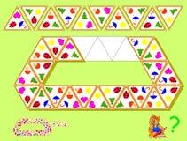 LogikTriominoes pussel Behov att finna fyra resterande trianglar och att dra dem på de korrekta ställena Arkivbild