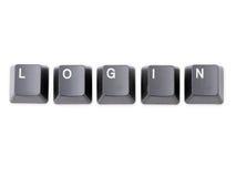 Login. Black keyboard keys forming LOGIN word over white background royalty free stock images