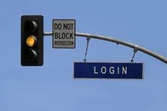 Login. A traffic sign tells 'login stock photography