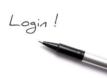 Login. Ballpoint pen writing login. best for website background Stock Images