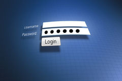Login. Online login with username and password Stock Image
