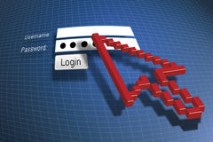 Login. With a red cursor Royalty Free Stock Images