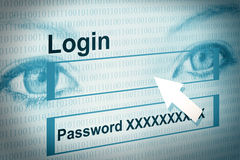 Login on account. Illustration of a webpage with account and eyes in the background Stock Photos