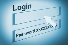 Login on account. Illustration of a webpate with account, login and password royalty free illustration
