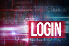 Login against blue technology design with binary code Royalty Free Stock Photography