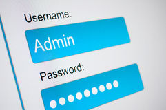 Login Box. Username and Password in Internet Browser on Computer Screen stock photo