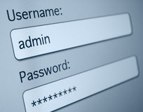 Login Box. Username and Password in Internet Browser on Computer Screen royalty free stock images