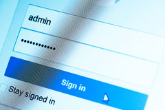 Login Box. Username Admin and Password in Internet Browser on Computer Screen Royalty Free Stock Photo