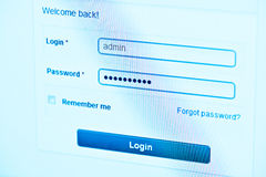 Login Box. Username and Password in Internet Browser on Computer Screen Stock Photos