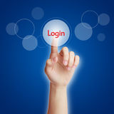 Login. Businesswoman hand pressing virtual login button on virtual screen stock photos
