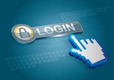 Login button. With abstract hand illustration Stock Photography