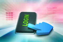 Login button with mouse cursor Stock Photos