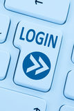 Login button submit blue computer online web. Keyboard Royalty Free Stock Image
