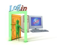 Login and computer Stock Photo