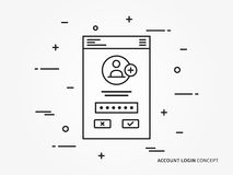 Login concept. Login access mobile webpage vector illustration. Sign up, log in, sign in interface technology creative concept. Simple registration, submit form Royalty Free Stock Photo