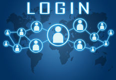 Login. Concept on blue background with world map and social icons Stock Photos