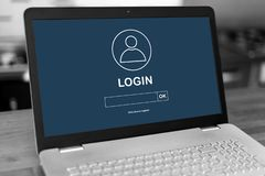 Login concept on a laptop. Laptop screen with login concept royalty free stock image