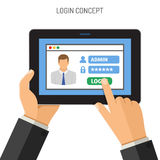 Login concept on tablet PC. Login Concepts Man holding tablet PC similar to ipad horizontal in hand and touching logon window with password.  vector flat icon Stock Photos