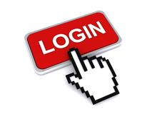 Login and cursor. Red login icon with a finger cursor pointing to it vector illustration