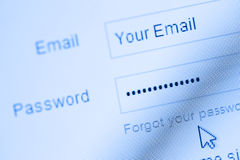 Login with email and password Stock Photo