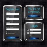 Login en register de vormen van het glasWeb Stock Fotografie