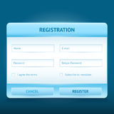 Login en register glanzende Webvormen Stock Afbeelding