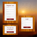 Login en registerWebvormen Stock Foto's