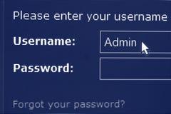 Login en wachtwoord het scherm Stock Afbeelding