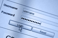 Login form. Computer screen with login and password form - blue color Stock Photography