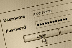 Login form. Computer screen with login and password form - sepia color royalty free stock photos