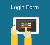 Login form illustration. Flat design. Login form on gadget screen illustration concept. Royalty Free Stock Photography