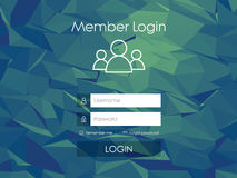 Login form menu with simple line icons. Low poly Royalty Free Stock Photography