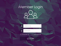 Login form menu with simple line icons. Low poly Royalty Free Stock Image