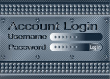 Login form on metal plate Stock Image