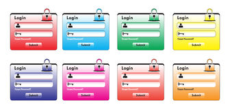 Login Form. Set of different color login forms for your design Stock Photography