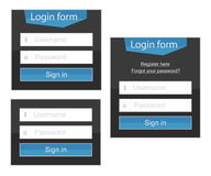 Login form in simple and complex variants. For your website or e-shop. Vector format eps 10 is available Royalty Free Stock Images