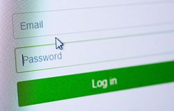Login form on web site. Password and email blank forms and arrow cursor at login screen on the web site Stock Image