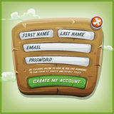 Login Form On Wood Panel For Ui Game. Illustration of a funny cartoon design ui app or game login form, on wooden panel, for terms of services and policy Royalty Free Stock Photo
